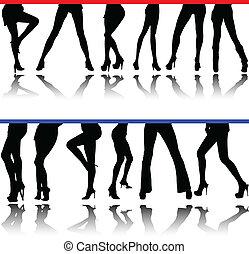 Frauenbeine Vektor-Silhouettes
