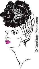 Frauengesicht mit einer Blume im Haar.