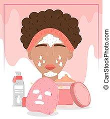 frauengesichter, routine, schoenheit, kosmetisch, maske, reinigen, behandlung