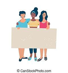 Frauengruppe mit leerem, leeren Banner für Text