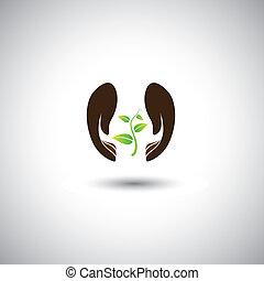 Frauenhand schützt Pflanzen - Naturschutz-Vektorgrafik. Diese Abbildung stellt auch die menschliche Sorge um die Entwaldung, den Umweltschutz, den Schutz von Pflanzen und Bäumen dar
