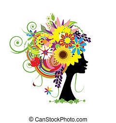 Frauenkopf mit Blumenhaar-Fo