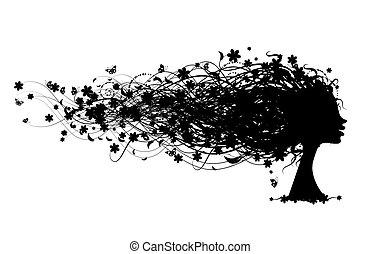 Frauenkopf mit Blumenhaarstil für dein Design