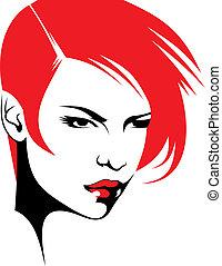 Frauenkopf und ihre Haare (haariger Stylist Vektor)