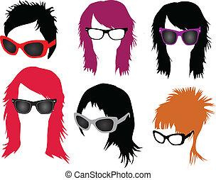 Frauenmode - Haare und Brille.