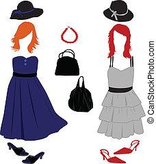 Frauenmode - Kleidung, Frisuren und Accessoires.