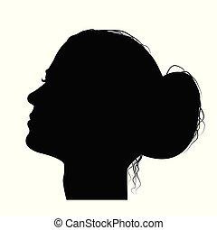 Frauenprofil mit Haaren in einem Brötchen