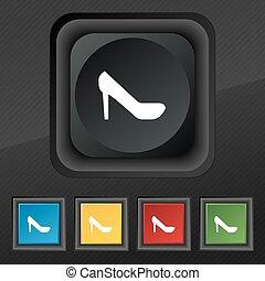Frauenschuhe Symbol. Fünf farbige, stilvolle Tasten auf der schwarzen Textur für Ihr Design. Vector