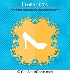 Frauenschuhe Symbol. Floral Wohnung Design auf einem blauen abstrakten Hintergrund mit Platz für Ihren Text. Vector