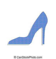 Frauenschuhschild. Vector. Neonblaues Icon mit Cyclamen polka dots