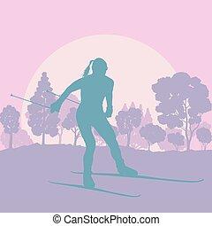 Frauenskifahren in der Waldvektorenlandschaft.