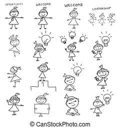 frauenunternehmen, zeichnung, begriff, hand, karikatur, glücklich