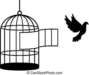 (free, vogel, bird), käfig