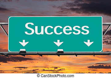 Freeway to success road sign.