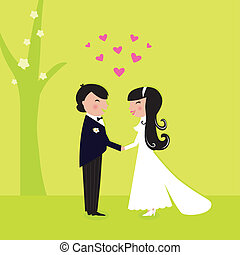 Freie Hochzeit: Paare haben eine Ehe in der Natur