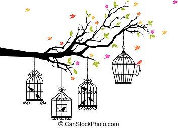 Freie Vögel und Vogelkäfige, Vektor.