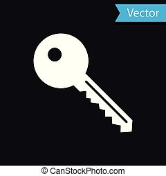 freigestellt, abbildung, hintergrund., vektor, schwarz, schlüssel, weißes, ikone