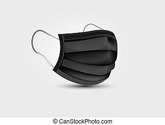 freigestellt, covid-19, mask., 3d, realistisch, maske, schwarz, medizin, gesicht, protection., klinikum, maske, atmungs, hintergrund, chirurgisch, sicherheit, vektor, atmen