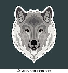 freigestellt, dunkel, hintergrund., gezeichnet, wolf., abstrakt, abbildung, vektor, porträt, sticker., bunte, hand, stilisiert