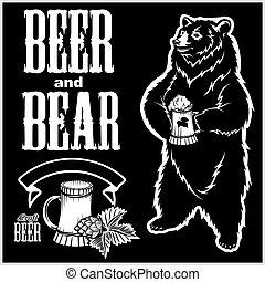 freigestellt, gezeichnet, hand, bär, bier, black., vektor, style., satz, -, handwerk