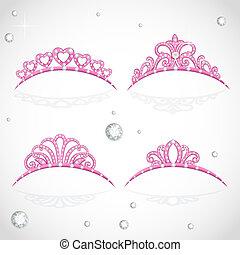 freigestellt, glänzend, hintergrund, elegant, rosa, weißes, kostbar, tiara, steine