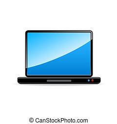 freigestellt, hintergrund, weißes, laptop