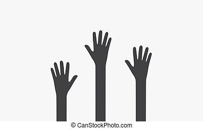 freigestellt, illustration., icon., vektor, weißes, aufziehen, hand, hintergrund.