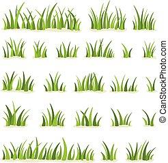 freigestellt, illustration., vektor, weißes, grün, hintergrund., gras, satz