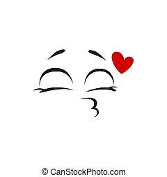 freigestellt, küssende , emoticon, emoji, gesicht, kuß, blasen