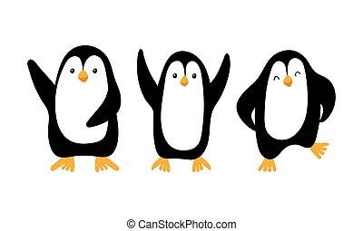 freigestellt, karikatur, pinguine, hintergrund, reizend, weißes