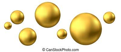 freigestellt, oder, kugelförmig, weißes, oel, gold, hintergrund., blase