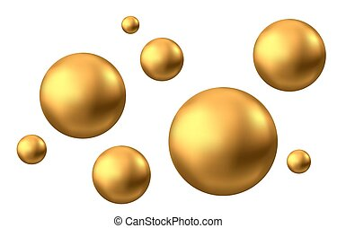 freigestellt, oel, oder, blase, gold, kugelförmig, hintergrund., weißes