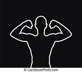 freigestellt, starke , muskulös, schwarzer mann, silhouette