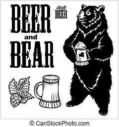 freigestellt, white., gezeichnet, hand, bär, bier, vektor, style., satz, -, handwerk