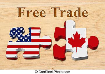 Freihandel zwischen den USA und Kanada.