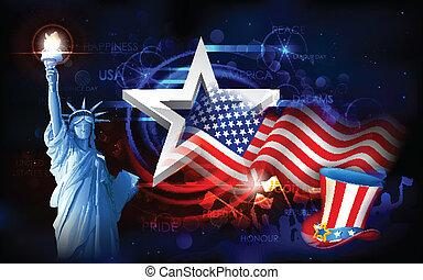 Freiheitsstatue mit amerikanischer Flagge