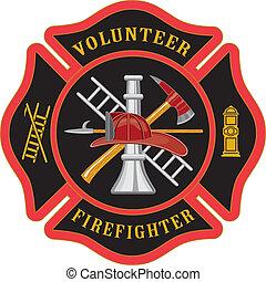 Freiwilliger Feuerwehrmann Malteser Kreuz