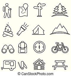 Freizeit-, Camping-, Erholungs- und Outdoor-Aktivitäten Symbol gesetzt.
