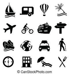 Freizeit-, Reise- und Freizeit-Icon-Set