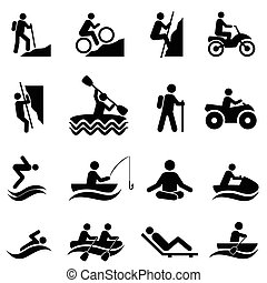 Freizeit- und Freizeitaktivitäten Symbole.