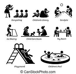 Freizeiteinrichtungen und Aktivitäten für Kinder.