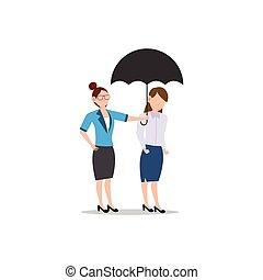 freund, geschaeftswelt, white., freigestellt, zeichen, ander., frau, wohnung, abbildung, karikatur, design, portion, umbrella., begriff, jedes, geben