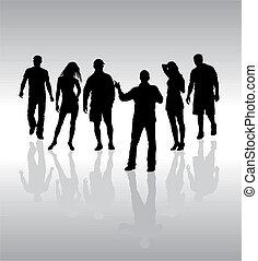 Freunde, Leute, Silhouette, Vektor