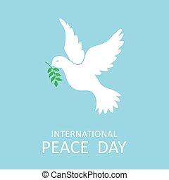 Frieden Taube mit Olivenzweig für internationalen Frieden Tag