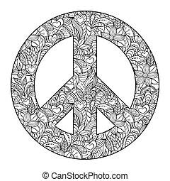 Friedenssymbol auf schwarzem Hintergrund