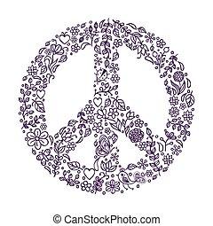 Friedenssymbol auf weißem Hintergrund.