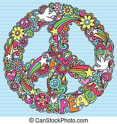 Friedenszeichen Dove Psychedelic Doodles.