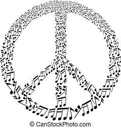 Friedenszeichen mit Musiknoten