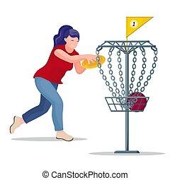 frisbee, basket., frau, werfen, scheibe