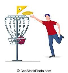 frisbee, basket., mann, werfen, vektor, scheibe